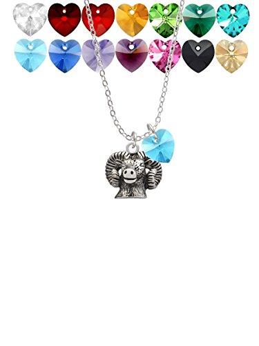 Ram Head Custom Crystal Heart Sophia Necklace, - Head Gold Pendant Ram