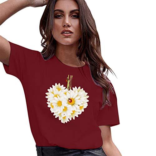 (✨Loosebee Women's Summer Loose Casual Print Short-Sleeved Shirt T-Shirt Top Wine)