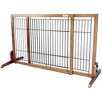 """Freestanding Dog For Indoor Home /"""" Office . Simply Plus Deluxe Wooden Pet Gate"""