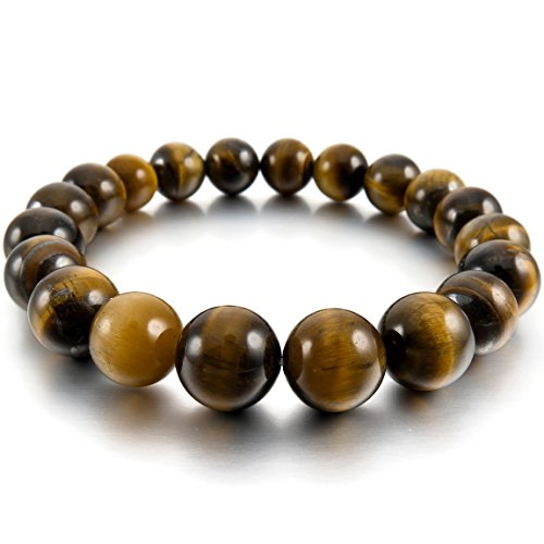 INBLUE Women,Men's 10mm Energy Bracelet Link Wrist Energy Stone Brown Buddha Mala Bead from INBLUE