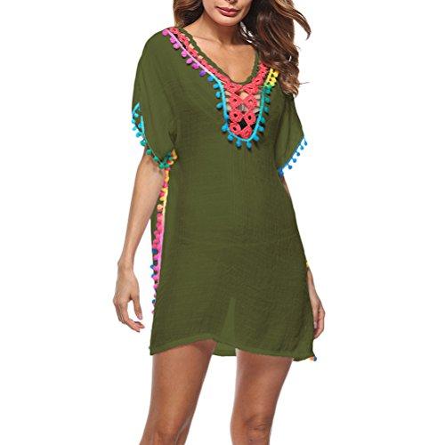 Zhhlaixing Donne Beach Wear Estate Protezione Solare Camicetta Costume da Bagno Bikini Cover Up Abbigliamento da Spiaggia per All'aperto Mare Multi Colore Verde