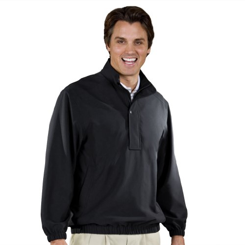 Monterey Club Mens Classic Stretchable Half zip Long Sleeve Water Repellent Pullover #1795 (Black, Small)