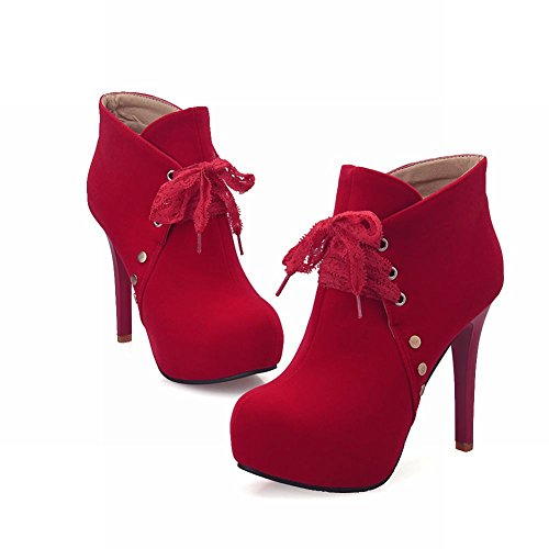 Mee Shoes Damen Nubukleder runde Plateau high heels Ankle Boots Rot