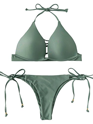 y Ladder-Cutout Halter Neck Side Tie Two Pieces Bikini Set Swimsuit Green S ()