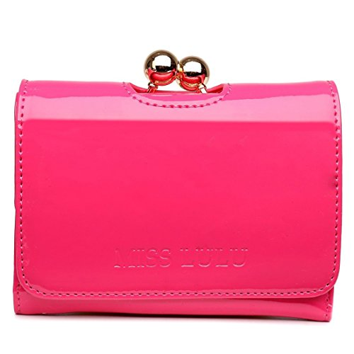 Miss Lulu Womens Patent Leather Small Ball Clasp Matinee Purse Wallet (Plum)