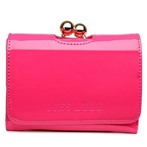 Miss Lulu Womens Patent Leather Small Ball Clasp Matinee Purse Wallet (Plum) ()