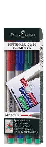 Faber-Castell 1526 04 - Marker MULTIMARK non-permanent, Stärke: M, 4er Etui, Inhalt: je 1x rot, blau, grün, schwarz