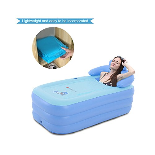 EoSaga Inflatable Bath Tub PVC Portable Tub SPA Environmental Portable Tubs for Adults Portable Soaking Tub Bathtub Bathroom SPA For an Adult With Air Pump Blue