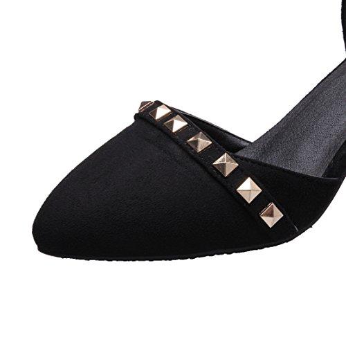 AIYOUMEI Damen Knöchelriemchen Pumps mit Nieten und 6cm Absatz Blockabsatz Bequem Schuhe Schwarz