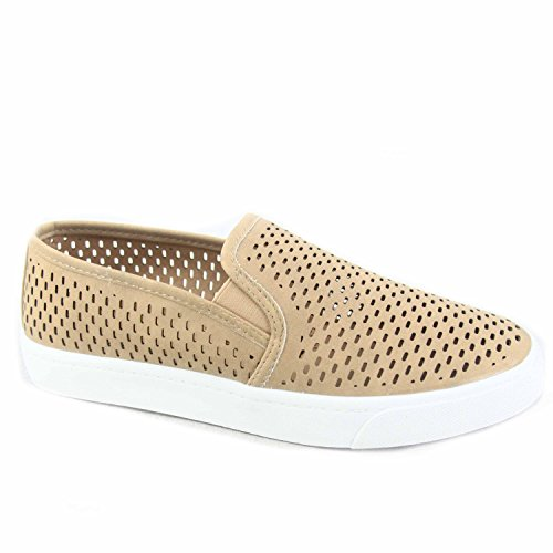 s Causal Slip On White Sole Round Toe Boat Sneaker Shoes, Alpaca Camel Size 8 ()
