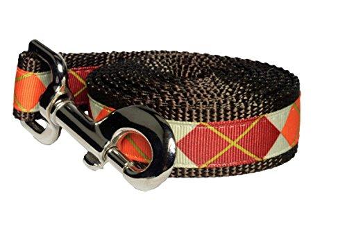 Paw Paws USA Pumpkin Argyle Dog Leash, Large, (Designer Large Fan)