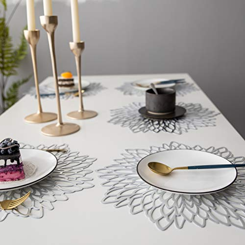 LIFONDER Dining Table Decoration Placemats - Indoor Outdoor Pressed Vinyl Metallic Place Mats/Charger/Wedding Parties Accent Centerpiece (10 pcs, Round Silver Leaf) ()