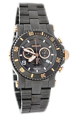 Renato Men's Beast Diver Swiss Chronograph Black IP & Rose Gold Tone Bracelet Watch 45SDVBR2-A-5030D