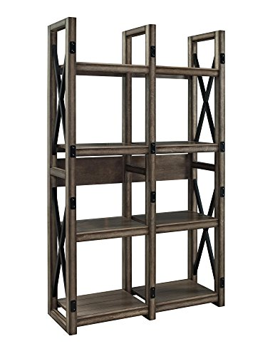 Ameriwood Home Wildwood Wood Veneer Bookcase/Room Divider, Rustic Gray