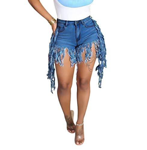 SIAEAMRG Jean Shorts for Women Juniors, Summer High Waisted Stretchy Frayed Raw Hem Tassels Denim Shorts