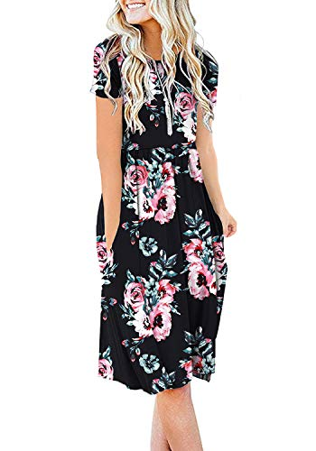 Modest Dresses Bridal (DB MOON Womens Summer Casual Empire Waist Dresses with Pockets (F Black,S))