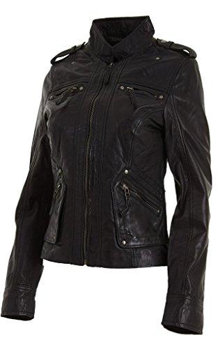 Mujeres de las señoras clásico Negro suave de la manera del cuero de Nappa entallada chaqueta Roca