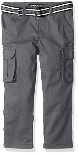 French Toast Men's Belted Cargo Pant, Gray Marble, (Twill Clothing)