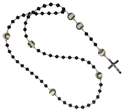 Bow Flip Flops Black Crystal Baseball Rosary for First Communion, Baptism Boys and Girls Christening