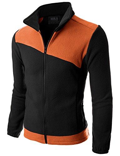 Doublju Mens Basic Zipper Comfort BLACKORANGE Light Weight Jacket,3XL