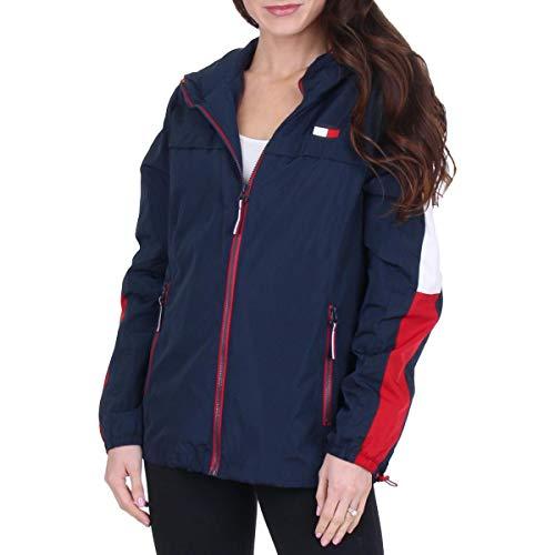 Tommy Hilfiger Women's Lightweight Retro Windbreaker Jacket Navy Size XL
