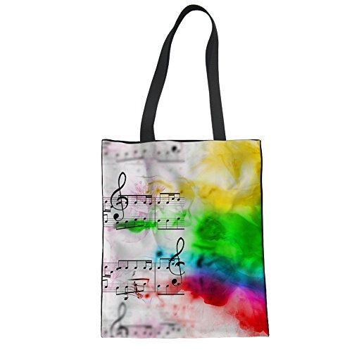 (Coloranimal Colorful Music Notes Design Cloth Bag Big Linen Tote Handbag)