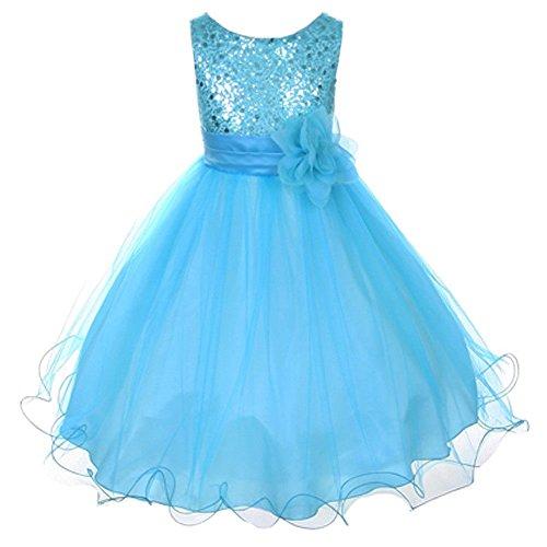 Flower Girls Dress Sequin Glitter Beaded Dress Wedding Prom Bridesmaid Aqua Baby Size S-XL Girls 2-14