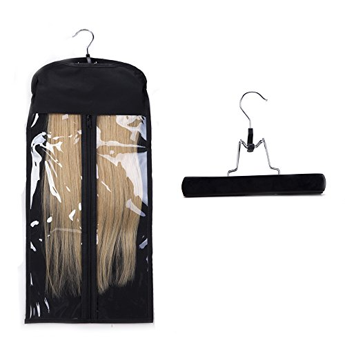 Portable Hair Extensions Carrier Holder Non-woven Dust-proof Suitcase Storage Bag with Wooden Hanger for Human Hair (Black) ()