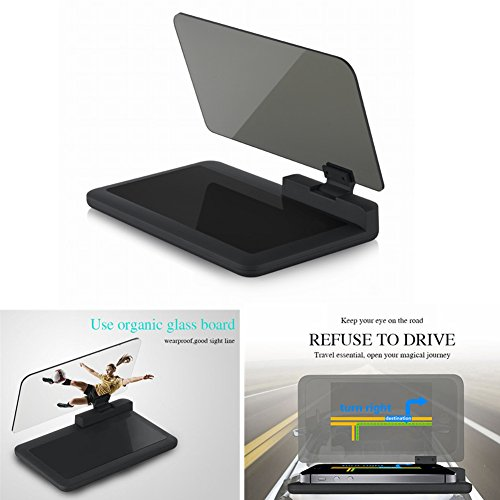 Dewhel Universal GPS Navigation Holder Head UP Display Car Dash Mount Cell Phone Holder Multifunctional Reflection Projector Mobile Phone Bracket Cradle for All Smartphones Samsung iPhone