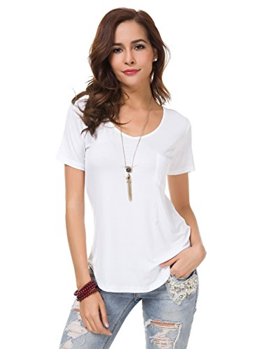Women's Soft Cotton Plain Wide V Neck Pocket T Shirt Short Sleeve or Long Sleeve Loose Tops Comfortable Undershirt (Plain White Tees T-shirts)