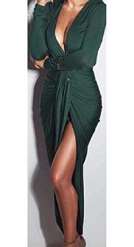 La Bodycon Des Femmes Coolred Ébouriffer Manches Longues Col V Confortable Sexy Partie Verte Robe