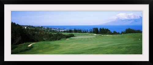 GreatBIGCanvas ''Golf course at the oceanside, Kapalua Golf course, Maui, Hawaii'' by Photographic Print Photographic Print with Black Frame, 48'' x 16'' by greatBIGcanvas