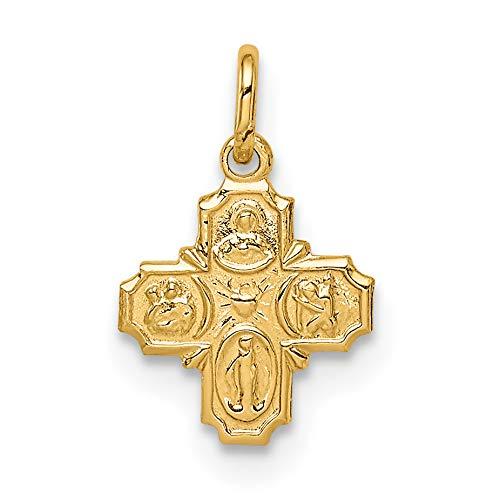 Solid 14k Yellow Gold Miniature Four Way Cross Cruciform Charm