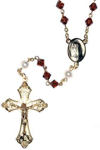 (Catholic Prayer Rosary Made with Smoke Topaz Brown & Pearlized Swarovski Crystals (November) - Communion, Confirmation, RCIA, Christmas, Birthday & More)