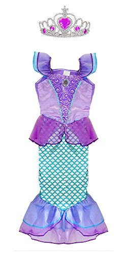 [TOKYO-T Ariel Costume for Kids Little Mermaid Princess Dress Up with Tiara (7-8)] (Cute Ariel Costumes)