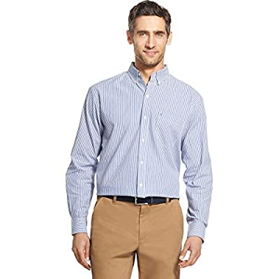IZOD Men's Button Down Long Sleeve Stretch Performance Stripe Shirt