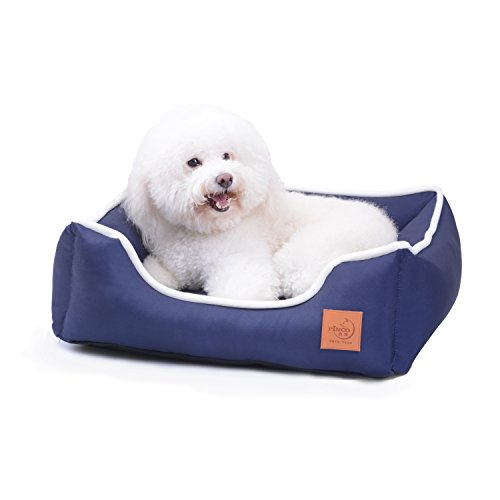 (Navy Waterproof Anchor Pattern Bolster Dog Beds Cat Beds Cuddler, Removable & Washable Cover and Extra Comfy Cotton-Padded)