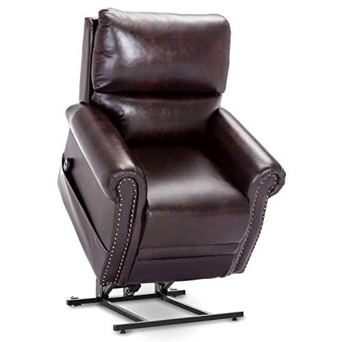 Harper&Bright Designs Power Lift Recliner Chair PU Leather Heavy Duty Reclining Mechanism Living Room Furniture with Remote (Brown)