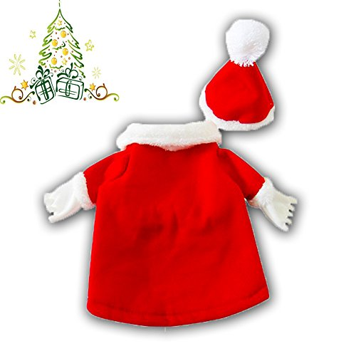 DELIFUR Dog Christmas Costumes with Hat Dog Santa Costume Dog Xmas Costume for Small Dog Cat Puppy (L)