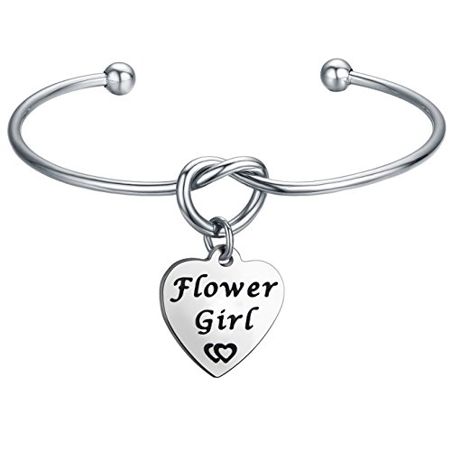 FEELMEM Flower Girl Bracelet Simple Love Knot with Heart-Shaped Engraved Message Charm Bangle Bracelet- Flower Girl Jewelry for Wedding/Engagement-Family Wedding Reunion Gift (Silver)