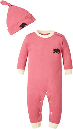 Little Blue House by Hatley Babies' Romper and Cap,Pink Little Bear Bum,6M-12M