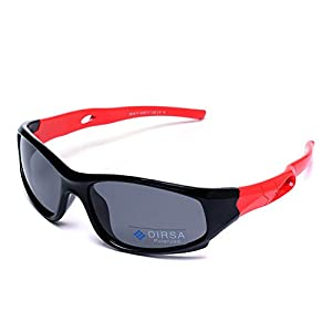 Kids Sports Style Polarized Sunglasses Rubber Flexible Frame UV400 For Boys Girls Child Age 3-10 (Black&Red, black)