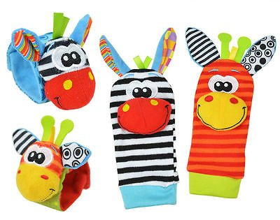 Hand Wrist Bell Foot Sock Rattles Soft Toy Cute Animal Infant Baby Kids Toys , Multicolor 4 pcs/set - Horse Puppet Kit