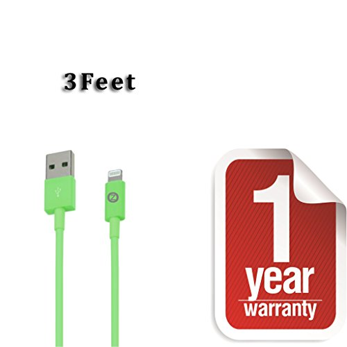 Zenotech USB Sync Data Charging Lightning 3 Ft Cable Compatible for iPhone 5 / 5C / 5S / 6 & 6 plus (IOS 8 Supported) iPad Mini iPod Touch 7th generation Green