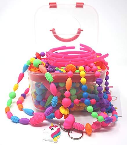 女の子用ポップビーズ、赤ちゃん、キッズ用。DIYジュエリー作りおもちゃキット。ブレスレット、リング、ネックレス、ヘッドバンド。クリエイティブなアートとクラフトセット。クリスマスと誕生日ギフト。対象年齢: 4、5、6、7、8歳の女の子(530個+個)。