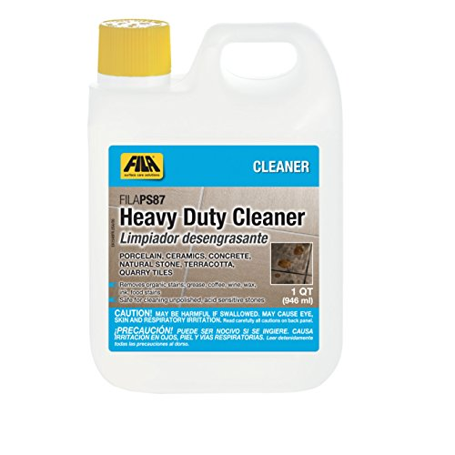(FILA Heavy Duty Cleaner PS87 1 QT, Stain Remover Grease, Coffee, Wine, Wax, Ink, Hard Surface Floor Cleaner, ideal for Natural Stone, Terracotta, Quarry Tile, Concrete, Porcelain And Ceramic Tile)