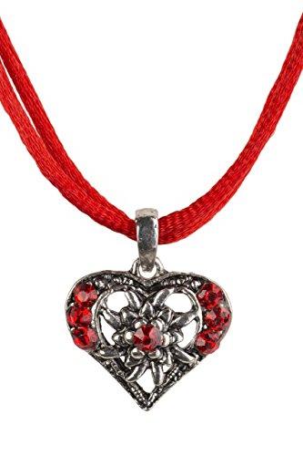 Trachtenkette Herzglühen elegantes Herz mit Strass und Satinban in vielen Farben - Anhänger Trachtenschmuck Kette für Dirndl und Lederhose Damen (Rot)