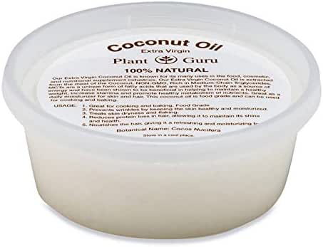 Extra Virgin Coconut Oil 8 oz. 100% Pure Unrefined Cold Pressed For Skin, Body and Hair Growth. Perfect for DIY Creams, Lip Balm, Lotion, Bath Bomb and Soap Making