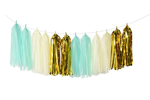 20pcs Mint Cream Gold Party Decoration Kit with Tissue Paper Tassel Garland Tissue Paper Flower Circle Garland for Rustic Wedding Baby Shower, Birthday Party, Nursery Decoration