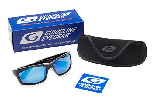 Guideline Eyegear Surface Polarized Bifocal Sunglasses with Deep Six Blue Mirror/Deepwater Grey Lens, Shiny Black Frame (+2.00)